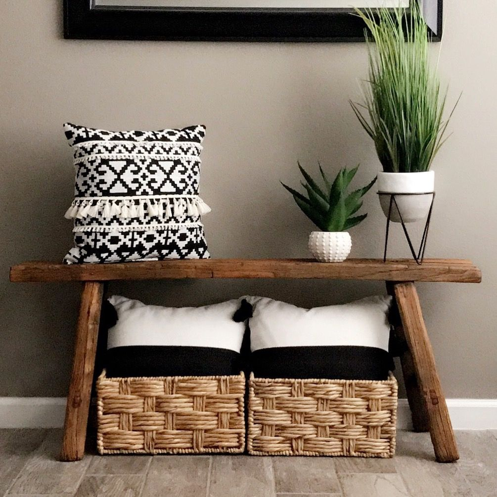 Cojines para bancos de madera top banco de madera pintada for Bancos de madera ikea